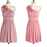 Custom A-line One-shoulder Sleeveless Short/Mini Chiffon Bridesmaid Dress With Flowers Beading Free Shipping