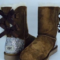 Custom Bailey Bow UGG Boots made with Swarovski Bailey Bow Free: Shipping, Repair Kit,