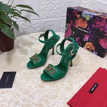 D&G DOLCE & GABBANA Women's Leather Fashion High-heeled Sandals Shoes