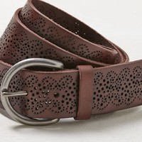 AEO Women's Perforated Leather Belt (Brown)