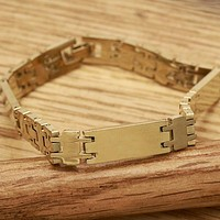 Gold Layered Men and Women Solid Bracelet, by Folks Jewelry