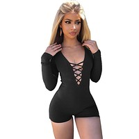 Straps Cross Deep V-neck Long Sleeves Short Jumpsuit
