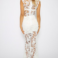 Oh My Darling Dress - White Floral Lace Maxi Dress