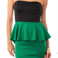 Strapless Open Back Peplum Dress in Green & Black
