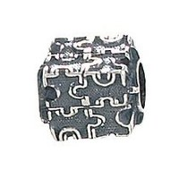 Zable Sterling Silver Autism Puzzle Pandora Compatible Bead / Charm