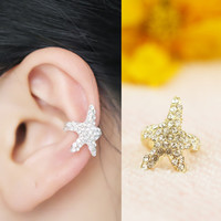 A 090627 Full of diamond ear clips starfish