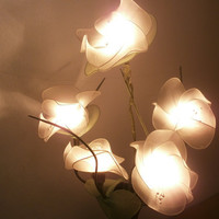 Tree Flower Branch Light on wooden vase oriental style  for home decorate or bedroom lighting