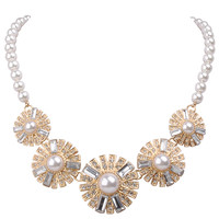 Fashion Noble Necklace White Jewelry Floral Design Prom Necklace