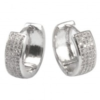 Dahlia Women's Huggie Hoop Earrings - Pave Cubic Zirconia Hoop