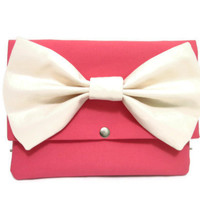 Coral Pink iPad Mini Case with Ivory Bow
