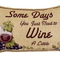"""Pack of 2 Somedays You Just Need to Wine Tapestry Throw Pillows 9"""" x 12"""":Amazon:Home & Kitchen"""