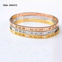 New Listing Roman Numerals Cuff Bracelet Dazzling Stones Meet Striking Numerals In A Contemporary Design special For Women