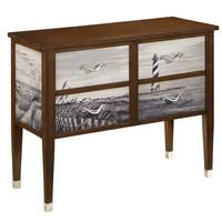 Coastal Handpainted Brown Four Drawer Console