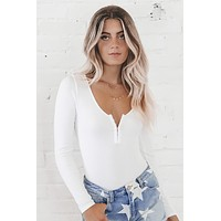 Let's Get Together Long Sleeve White Ribbed Bodysuit