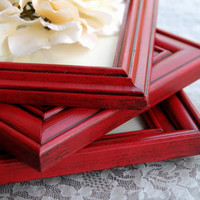 Rustic farmhouse picture frame set: Lot of 3 vintage country cottage chic red hand-painted wooden wall collage gallery photo frames