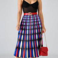 Gucci Women Fashion Printed Pleated Half-length Skirt