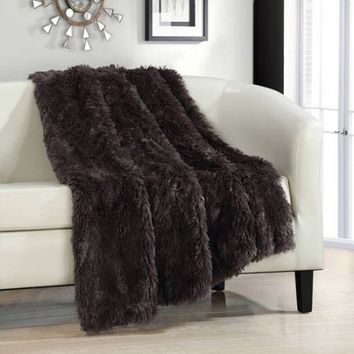 Juneau Faux Fur Ultra Plush Decorative Throw Blanket - Walmart.com