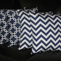 "Decorative Pillows navy Throw Pillows FOUR chain link, chevron 18x18 inch 18"" blue, white Zig Zag"