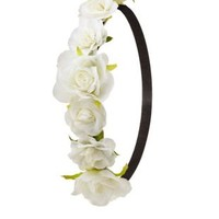 White Flower Crown Head Wrap by Charlotte Russe
