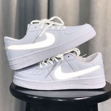 Hipgirls NIKE Air Force 1 New fashion reflective hook sports leisure low top couple shoes White