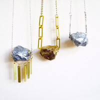 Raw Quartz Necklace, Rough Quartz Crystal Nugget Necklace, Stone Necklace of Your Choice - Modern Tribal Lapidary