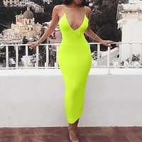 2020 new V-neck halter strap long skirt pencil skirt tight elastic dress flourescent green three straps