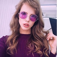 Retro Hippie Metal Lennon Round Color Lens Sunglasses