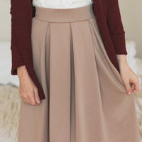 Lilian Pleated A-Line Midi Camel Skirt
