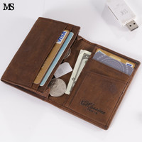 Trend  Men Business Crazy Genuine Leather Wallet Business Casual Credit Card ID Holder Money Coin Wallet Holder SD Slots Walet