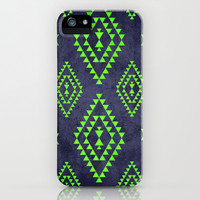 Navy & Lime tribal inspired print iPhone & iPod Case by dani