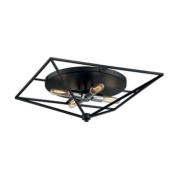 "22""W Legend 4-Light Close-to-Ceiling Black / Polished Nickel"