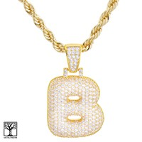 """Jewelry Kay style Iced CZ Custom Bubble Letter B Initial Gold Plated Pendant 24"""" Chain Necklace"""