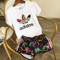 """Adidas"" Women Fashion Print Short sleeve Top Shorts Sweatpants Set Two-Piece Sportswear"