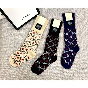 GUCCI tide brand female models rhombic double G cotton socks in stockings
