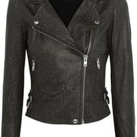 IRO Jeff printed leather biker jacket – 60% at THE OUTNET.COM