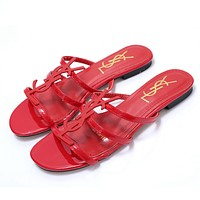 YSL 2019 new classic patent leather word with metal buckle open toe fashion flat female slippers shoes Red