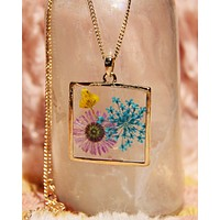 Pressed Wildflower Necklace - Square