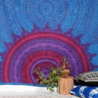 Magical Thinking Sunrise Medallion Tapestry - Blue One
