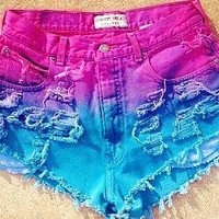 Pink and Blue distressed high waisted denim shorts