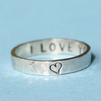 Personalized Ring -  Thin Secret Message Ring - Silver Posey Ring - Cyber Monday Etsy - Free Shipping Etsy