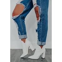 Free My Soul Booties: White