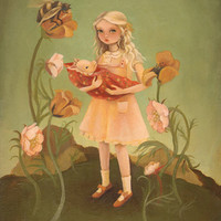 Alice and the Piglet Print 8x10 by theblackapple on Etsy