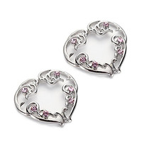 Vcmart Pair of Non-Pierce Heart Nipple Ring Shield Set with Pink Gems