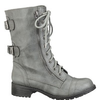 Lace up Double Buckle Combat Boot