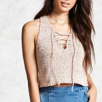 Marled Lace-Up Tank Top