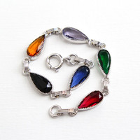 Vintage Colorful Stone Bracelet - 12k White Gold Filled Blue, Black, Yellow, Purple, Green, Red Stone Jewelry Simulated Sapphire, Ruby, Onyx
