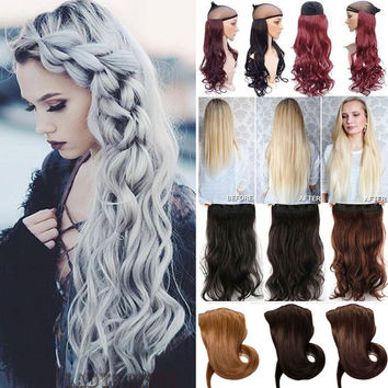 USPS SHIPPING Super Long 29inch (73cm) One Piece 5 Clips in Hair Extensions Amazing Curly/Wavy synthetic Hair 3/4 Full Head