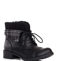 Nebraska Plaid Boots - Black