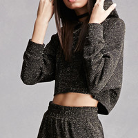 Cropped Glitter Knit Hoodie