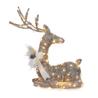 26-Inch Micro LED Lighted Sitting Reindeer in Brown
